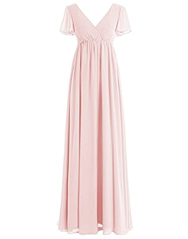 BetterGirl Damen Chiffon Lange Abendkleid Kurarm empire-Taille Brautjungfernkleid Ballkleid-Rosa-36