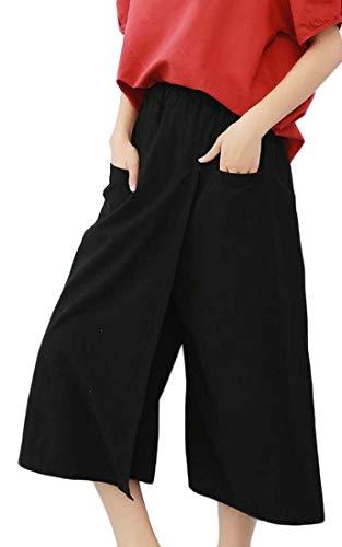 Gaucho Hose (H&E Damen Hose mit elastischem Taillenbund Gr. XL, Schwarz)