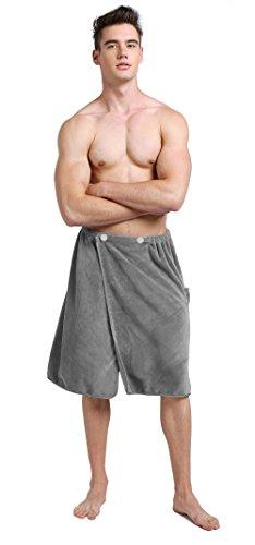 SINLAND Herren Mikrofaser Spa-Verpackungs-Handtuch Badetuch mit Schnappverschluss 24inch x 63inch Grau (Mädchen-bad-wrap Mit Straps)