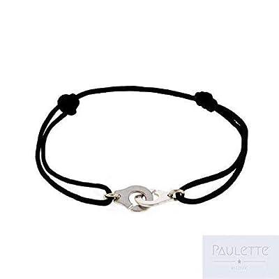 Bracelet menottes en argent 925 sur cordon
