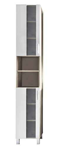 Trendteam pto10141mobile alto da bagno bianco in melammina, imitazione quercia, melamina, vetro satinato, dimensioni 33x 191x 31cm