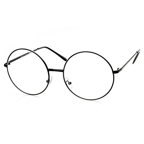 fake brille Trixes schwarze Unisex Brille mit runden Gläsern und Metallrahmen Retro 60er Vintage Style Accessoire für Karneval