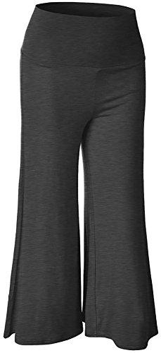 Happy Lily-Vita alta, ampia pantaloncino corto Palazzo Bell Bottom-Pantaloni da Yoga Grigio scuro