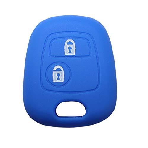 YLC Proteggi Chiave per Auto in Silicone Car Key Cover Skin Jacket per Peugeot & Citroen Chiave 2 Pulsante(Blu Navy)