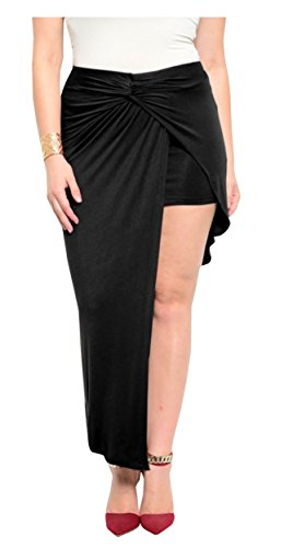 Schwarz (Assymetric Wrap Skirt) Asymmetrisch Wickelrock. Gr. 42