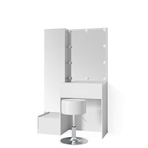 Vicco Schminktisch Gloria Weiß mit LED - Beleuchtung und Hocker Hochglanz Frisierkommode Frisiertisch Spiegel +++ MIT EXTRA GROßEM SPIEGELSCHRANK +++