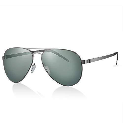 Highland Park sonnenbrille männer polarisiert Herren Pilotenbrille damen Super Licht verspiegelt Retro Nylon Linsen Unisex UV400 Schutz mit harter Box (Silber / G15)