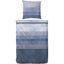 Primera Bettwäsche Edel Flanell 135x200 blau - Streifen Baumwolle OekoTex warm