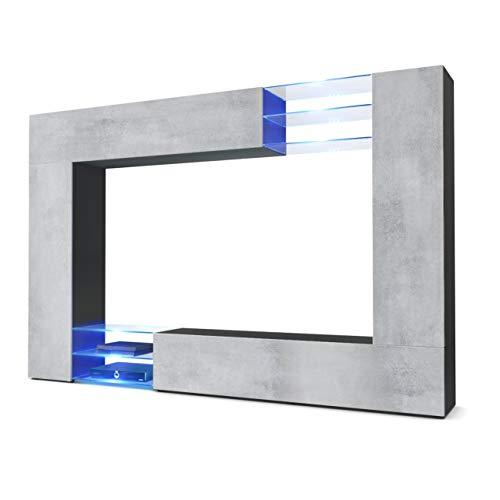 Vladon Wohnwand Anbauwand Mirage, Korpus in Schwarz matt/Fronten in Beton Oxid Optik inkl. LED Beleuchtung