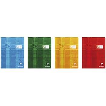 Clairefontaine 3996C Lot de 10cahiers agrafés A5Maxi pour déficients visuels Rayures françaises (Séyès 2,5, agrandi 10x 10) de 48pages Assortiment de couleurs