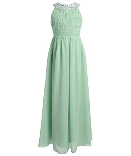 FAIRY COUPLE Mädchen Runde Ausschnitt Neckholder Chiffon Kleid mit Strass Rüschen Party-Kleid Ballkleid Schulterfrei K0151 8 Minze (Fairy Kleider Kinder Für)