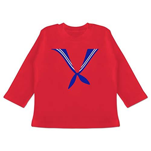 Karneval und Fasching Baby - Matrose Kostüm Tuch - 12-18 Monate - Rot - BZ11 - Baby T-Shirt Langarm