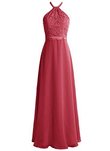 Bbonlinedress Robe de cérémonie et de soirée dentelle halter dos nu sans manches et strass longueur ras du sol en mousseline Rouge Foncé