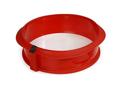 Lékué Duo - Molde redondo desmontable y plato de cerámica (23 cm), color rojo