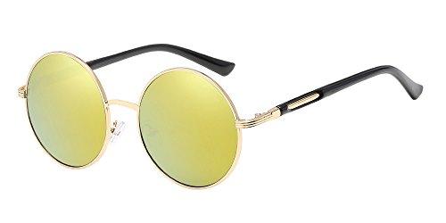BOZEVON Retro Style Circle Sonnenbrille Runde Linse für Damen Gold-gold