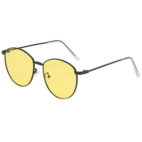 fazry Damen Herren Mode Persönlichkeit Unregelmäßige Form Metall Rahmen Sonnenbrille Vintage Punk Style Brille(C)