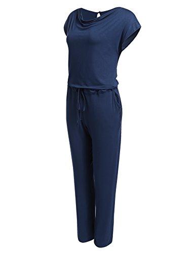 Meaneor Damen Sommer Wasserfallkragen Jumpsuit Overall Hosenanzug Einteiler Mit Elastisch Bund Stretch Marine