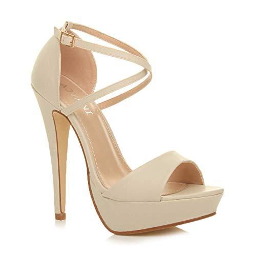 Donna tacco alto fibbia cinturini incrociati scarpe punta aperta sandali numero 3 36