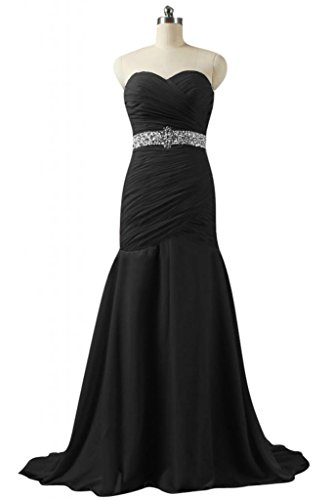 Sunvary Charming raso abito da sera lungo sirena Prom Dress Pageant Nero