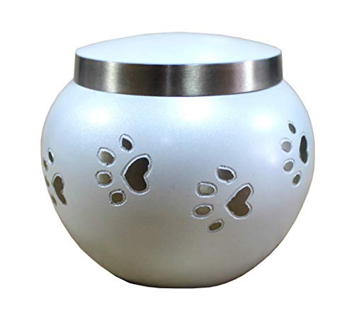 eSplanade Feuerbestattung Urnen Denkmäler Urnenbehälter Glastopf | Messingurne | Metallurne | Graburne | Denkmäler Andenken | Haustier Hund Katze Urne (Weiß 30 lbs) -