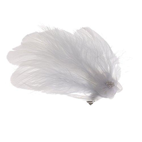 Fascinator en Plume Blanche de Mariée Clip Pince à Cheveux pour Coiffure de Mariage - #1