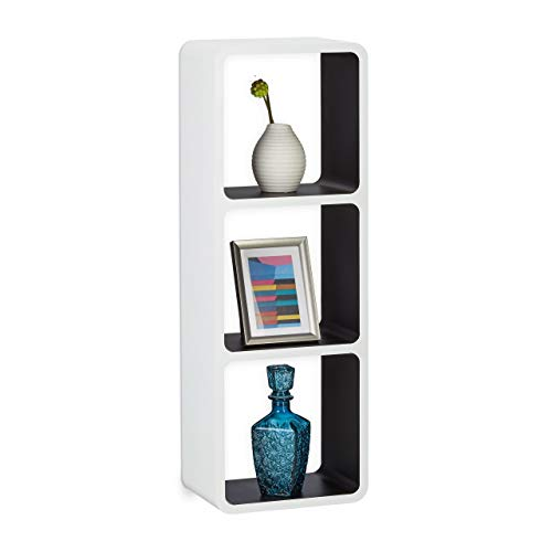 Relaxdays Wandregal mit 3 Fächern, offenes Cube Schweberegal o. Standregal für Deko, CDs, Bücher, 90x30 cm, weiß-schwarz