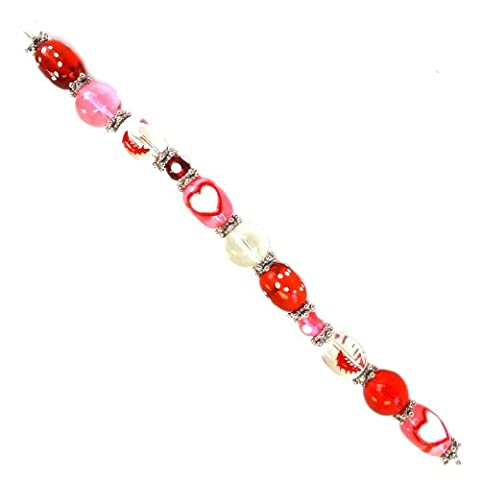 Fiona SUP-02-2 7-Inch Valentine Beads Strand with 13mm by 18mm Oval Heart Glass Beads by Fiona