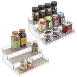 Mdesign set da 2 portaspezie da cucina – mensola porta spezie espandibile per una cucina sempre ordinata – porta spezie a 3 ripiani in robusto pvc – trasparente/metallizzato