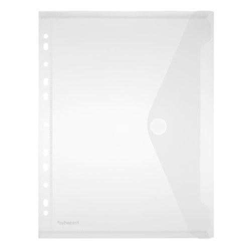 Sichttaschen / Umschlag A4 hoch 10er Pack, Abheftrand, Klett, farblos