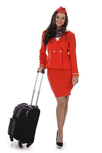 Karnival 81049Flugbegleiterinnen Kostüm, Frauen, rot, klein (Flugbegleiter Kostüm)