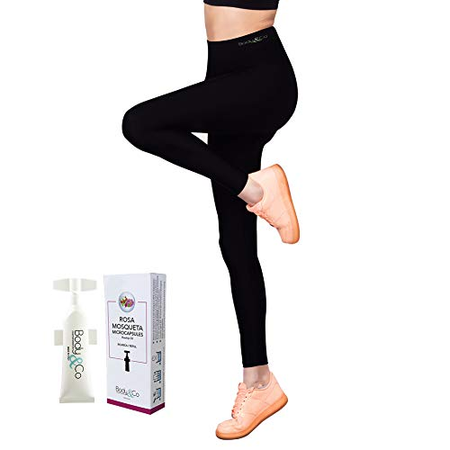 Body&Co Kit Legging Taille Haute Emana® + 1 Recharge Ingredient Actif 10ml (M/L, 1 Recharge 10 ML Huile de Rosa Mosqueta)