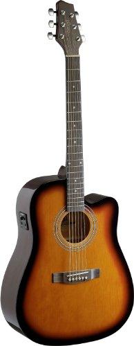 Stagg SA40MJCFI-BS - Guitarra electroacústica (tipo cutaway), color marrón