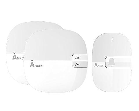 ankey Sonnette radio sans fil sonnette numérique Design élégant avec affichage LED, Wireless Door Bell protégée à eau | 1x émetteur/2x récepteur | 40Mélodies/Sonneries–Quatre niveaux de volume–Au Choix (étanche) | Blanc