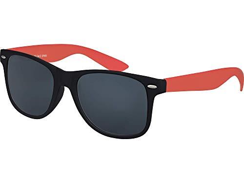Balinco Hochwertige Nerd Sonnenbrille Rubber im Wayfarer Stil Retro Vintage Unisex Brille mit Federscharnier - 96 verschiedene Farben/Modelle wählbar (Dunkelrot/Schwarz - Smoke)