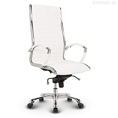 VERSEE Design Bürostuhl Chefsessel Montreal — Echt-Leder — weiß — Drehstuhl, Bürodrehstuhl, Schreibtischstuhl, Chefstuhl, Ergonomisch, hohe Rückenlehne,