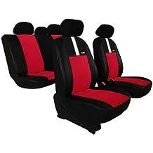 Fundas de asiento universales GT8 (ECOPIEL + ALKANTARA) para CITROEN (AX - BX - C3 - C4 - C5 - CX - SAXO - XANTIA - XM - XSARA - ZX) (Rojo)
