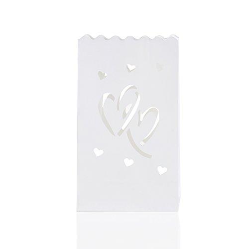 UEETEK 10pcs novedad doble-corazón en forma de bolsos de la vela de Tealight luminarias para decoración de bodas fiesta/Home
