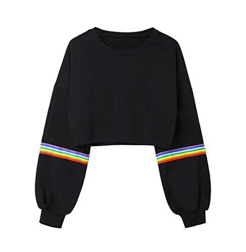 Tomatoa Damen Langarmshirt Classics Tops Druck Rainbow Lose Oberteile Mode Sweatshirt Einfarbig Streetwear Elegante Mantel Komfort Bluse Casual Pulli