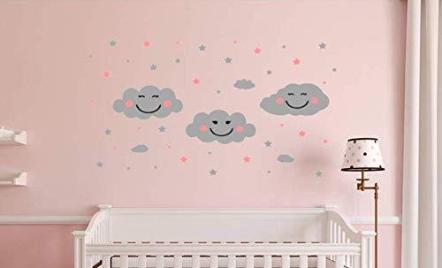 d4530f13b1f484 Joyeux nuages Chambre d enfant Sticker mural Ensemble de nuages avec des  étoiles Décoration murale