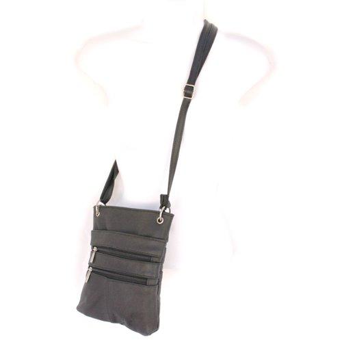 Echtes Leder Kleine Schulter überqueren Körper Reise Mini-Geldbeutel-Tasche Durch Silber Fever ® schwarz