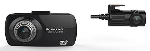 koonlung Mini A11080p caméra double de voiture DVR Caméscope Tableau de Bord Dash Cam 160° Large Angle de vue 6,9cm accéléromètre Capteur Sony Exmor imx322et écran offre une carte mémoire 32Go, 6g vidéo Full lentille en verre.