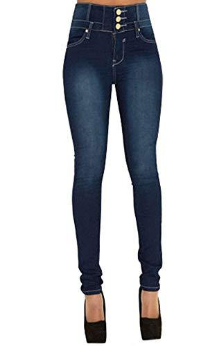 Yidarton Jeans Damen Vintage Lässige Dünn Denim High Waist Stretch Schlank Hochbund Knopfleiste Jeanshose Röhrenjeans Push Up Hose (Blau, L)