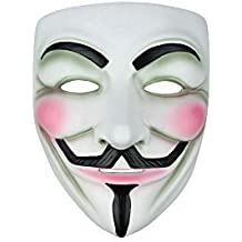 Anonymous Vendetta Guy Fawkes Déguisementlacet Halloween Masque - Blanc, One Size