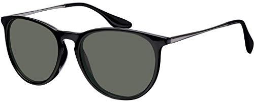 Sonnenbrille La Optica UV 400 Schutz Unisex Damen Herren Vintage Rund Round - Rahmen Schwarz Glänzend (Gläser: Grün Klassisch)