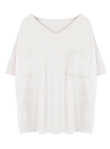 Futurino Damen Sommer CrewAusschnitt 3/4 Drop Sleeve Boyfriend T-shirt Mit Patch Pockets Weiß