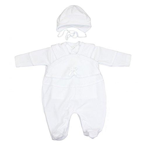 Baby Taufanzug 3-tlg. Set Strampler Jäckchen Mütze Nicki Taufkleidung Junge Taufkleider Mädchen, Farbe: Weiß, Größe: 62