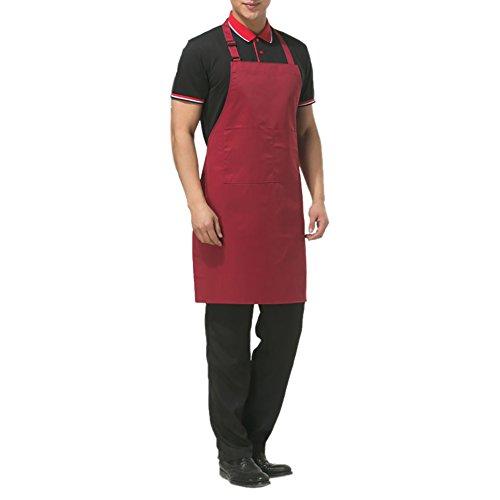aspire réglable Bavoir Tablier avec 2 Poches Couleur Unie de Cuisine Cuisson Tabliers de Couple pour Homme ou Femme Chef, Bordeaux, 1