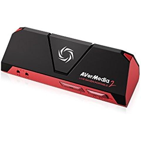 AVerMedia Live Gamer Portable 2 - Capturadora video HD graba y comparte partidas de PS4/XBOXONE/Wii U en 1080p 60FPS, entrada Party Chat, graba sin PC y software RECentral