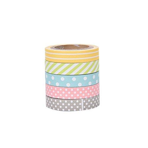 drawihi Klebeband Single Face Polka Punkt gedruckt Muster Baumwolle Band 5Rollen 38mm Breite (Rainbow Band Baumwolle)