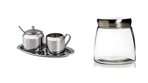 Xavax Milch- und Zucker-Set aus Edelstahl, 3-teilig + 1 Liter Aroma-Dose aus Glas für Kaffee Gebäck usw mit Edelstahldeckel